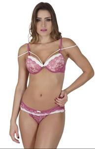 Conjunto lingerie coleção luxo strappy bra em renda com lacinho K219.B