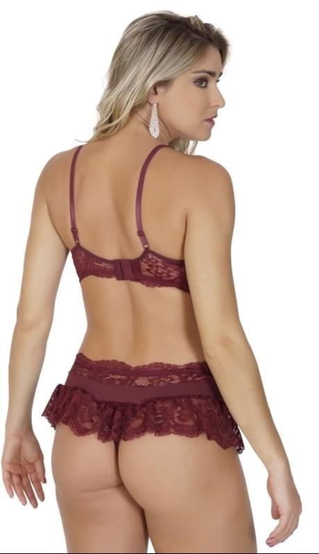 Conjunto lingerie coleção luxo strappy bra em renda e microfibra K156.C