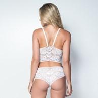 Conjunto lingerie cropped caleçon em renda com lacinho em cetim K66.C