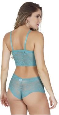 Conjunto lingerie cropped caleçon em renda com laço em cetim K225.A