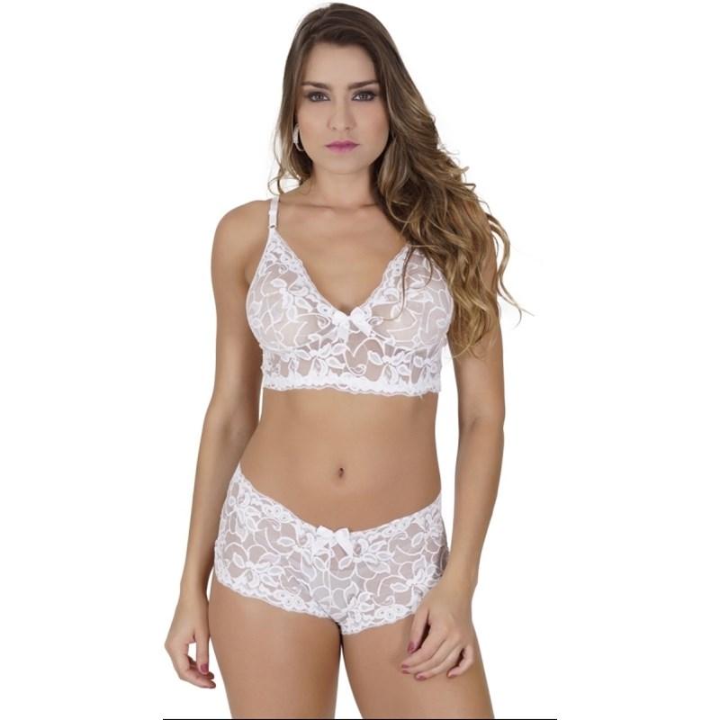 Conjunto lingerie cropped caleçon sem bojo em renda lisa U14.A BRANCO