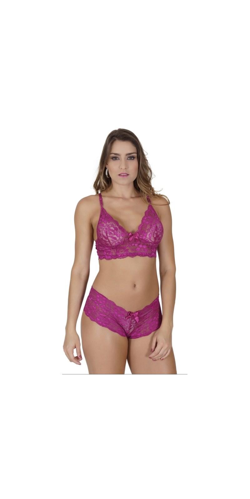 Conjunto lingerie cropped caleçon sem bojo em renda lisa U14.A GROSELHA