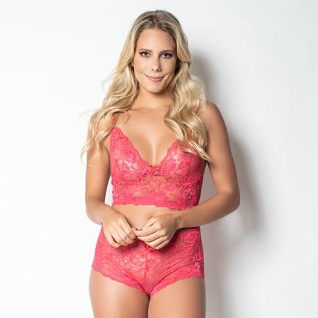 Conjunto lingerie cropped caleçon sem bojo em renda lisa U14.A