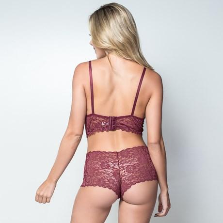 Conjunto lingerie cropped caleçon sem bojo em renda lisa U14.A VINHO