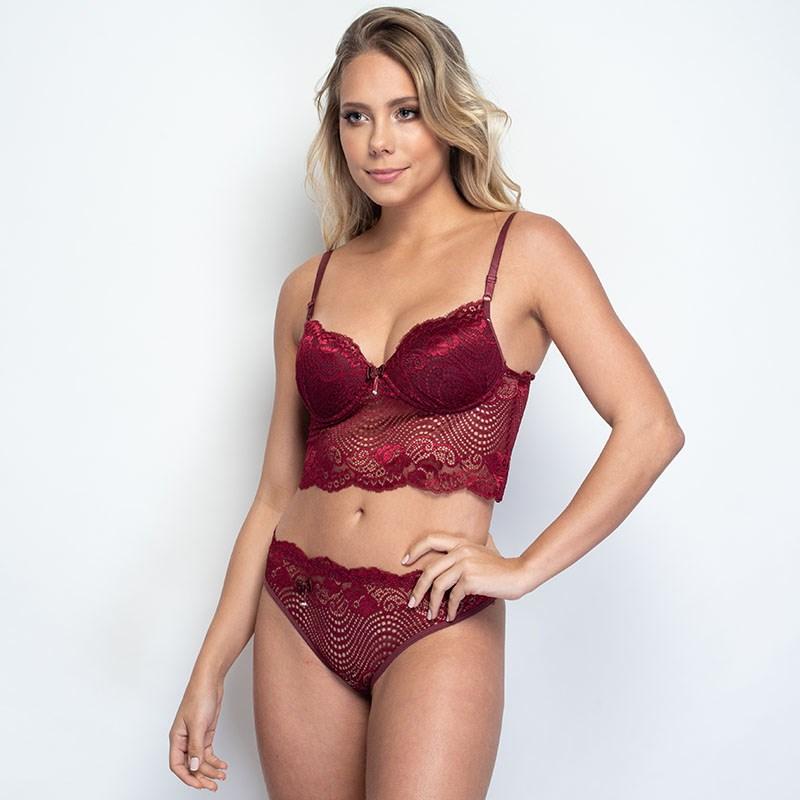 Conjunto lingerie cropped em renda com lacinhos em cetim K243.A VINHO