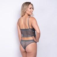 Conjunto lingerie cropped em renda com lacinhos em cetim K243.A