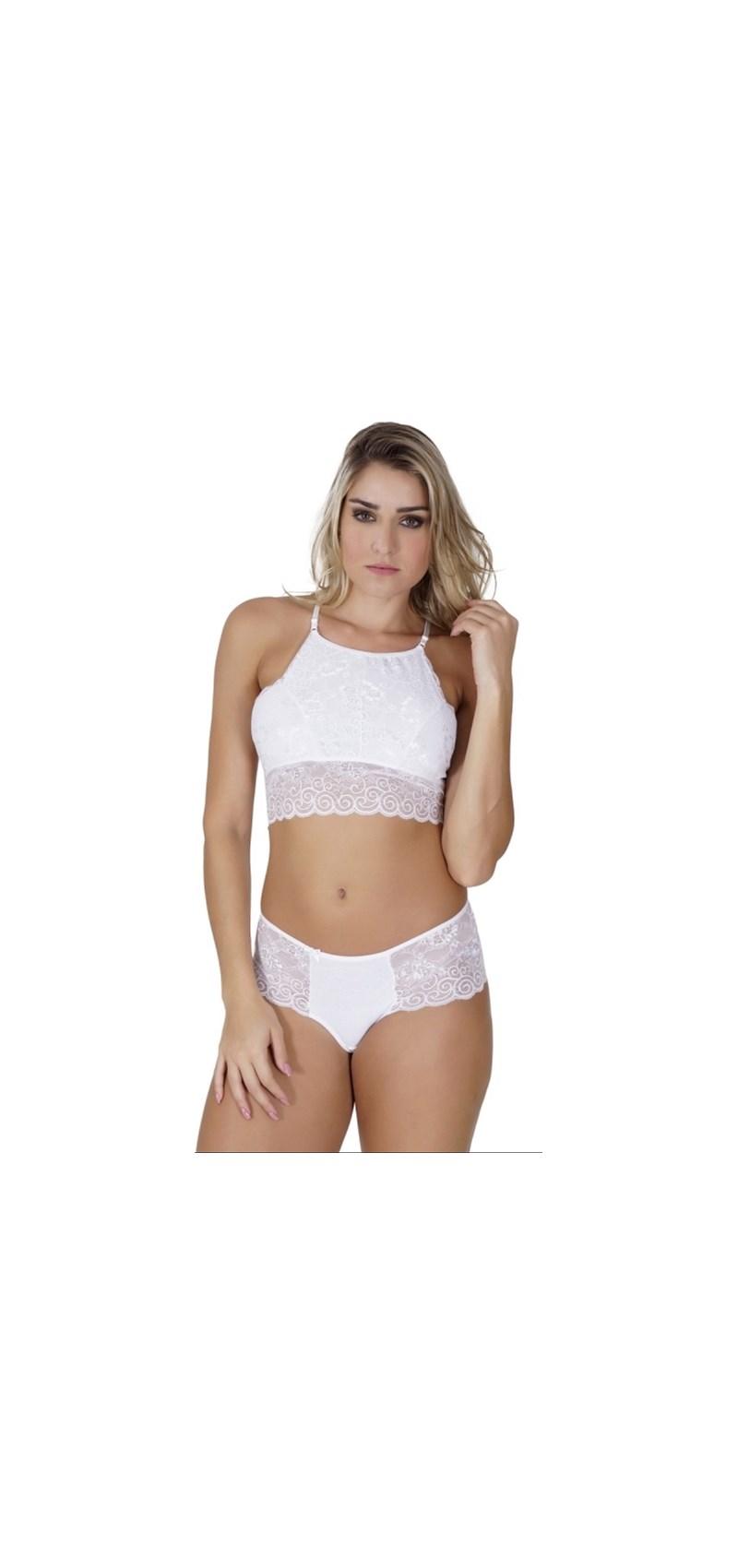 Conjunto lingerie cropped luxo em renda com alças cruzadas U10.A BRANCO