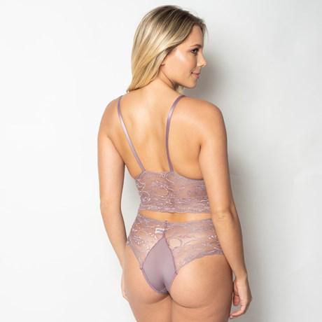 Conjunto lingerie cropped sem bojo em renda lisa com microfibra U03.C