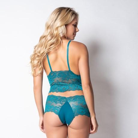 Conjunto lingerie cropped sem bojo em renda lisa com microfibra U03.C VERDE ESCURO