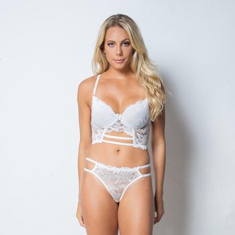 Conjunto lingerie cropped strappy bra em renda com lacinho K122.C