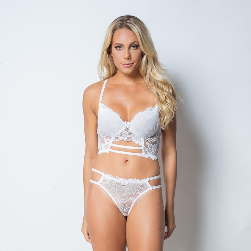 Conjunto lingerie cropped strappy bra em renda com lacinho K122.C BRANCO