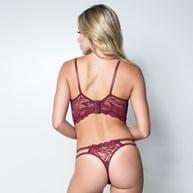 Conjunto lingerie cropped strappy bra em renda com lacinho K122.C VINHO