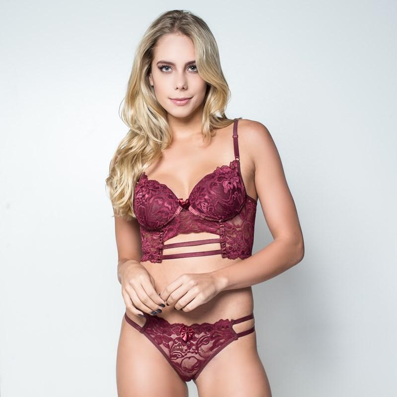 6e00cf020 Conjunto lingerie cropped strappy bra em renda com lacinho K122.C VINHO