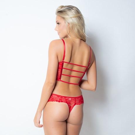 Conjunto lingerie cropped strappy bra em renda com laço em cetim K94.B