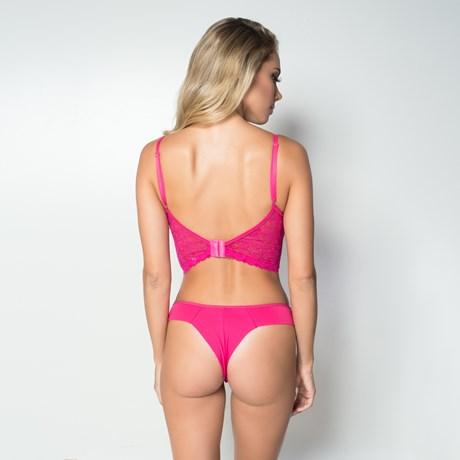 Conjunto lingerie cropped strappy bra em renda lisa com lacinho K59.D