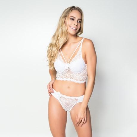 Conjunto lingerie cropped strappy bra em renda lisa com lacinho K59.D BRANCO
