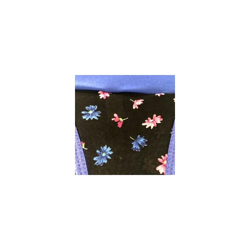 Conjunto lingerie em liganete estampada com lacinhos em cetim K18.E AZUL ESCURO VARIADO