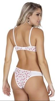 Conjunto lingerie em microfibra com babadinho em tule e laço K146.B