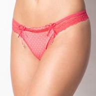 Conjunto lingerie em microfibra com bolinhas e detalhe em renda K106.B
