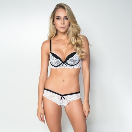 Conjunto lingerie em microfibra com renda lisa e lacinho em cetim K48.D BRANCO