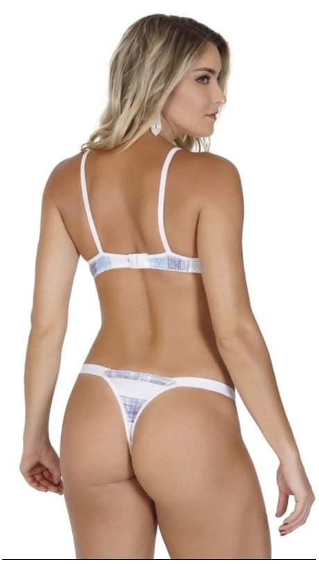 Conjunto lingerie em microfibra estampada com lacinho pala lateral K184.D