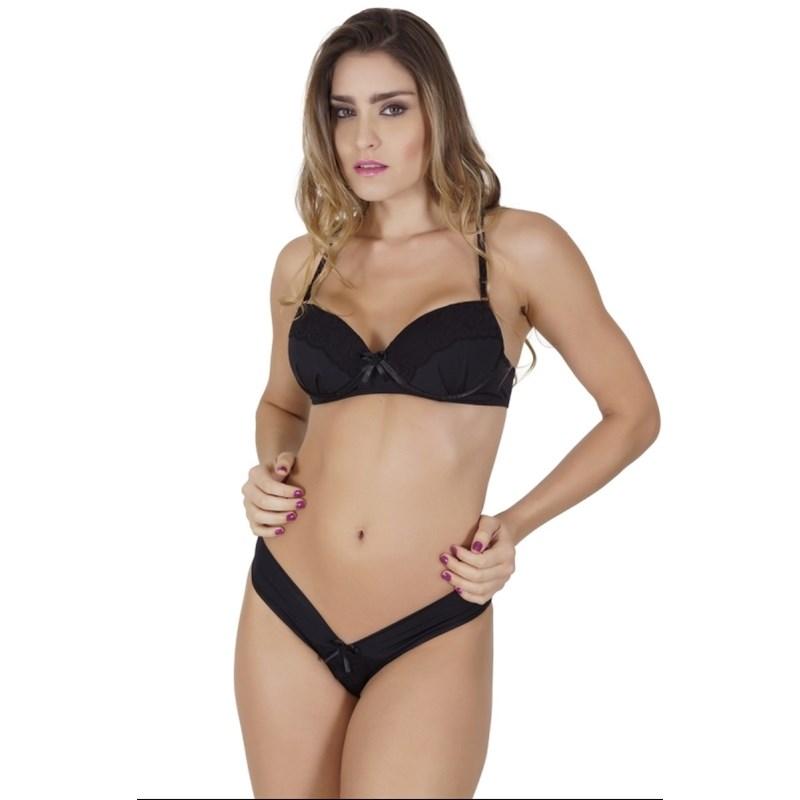 Conjunto lingerie em microfibra lisa com detalhe drapeado e renda K185.A PRETO