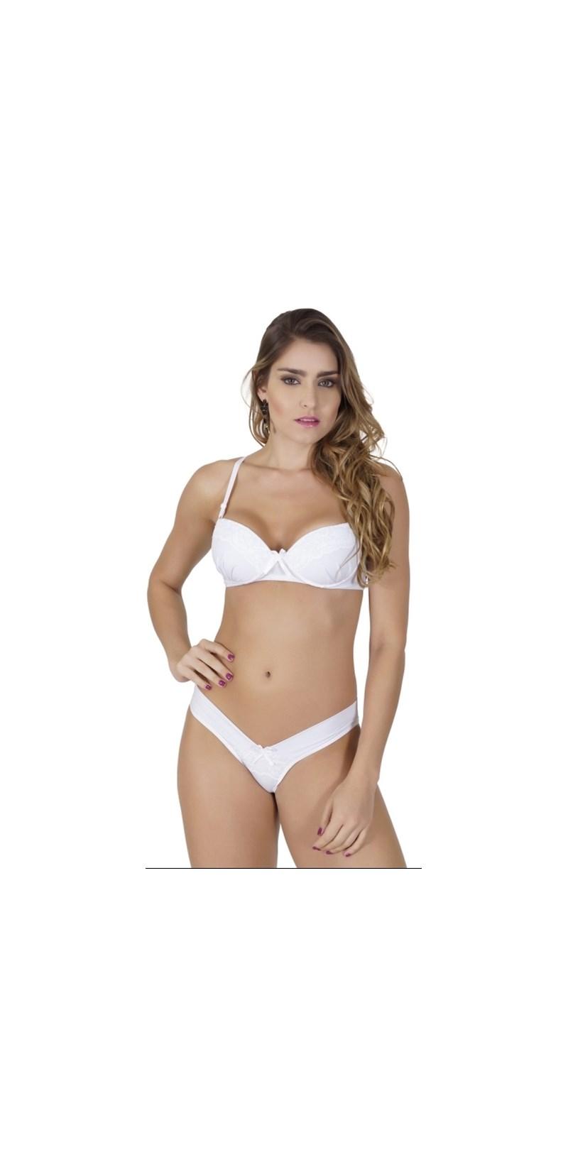 Conjunto lingerie em microfibra lisa com detalhe drapeado e renda K185.A BRANCO