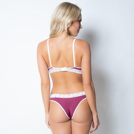 Conjunto lingerie em microfibra lisa com detalhes em renda elástica K41.A