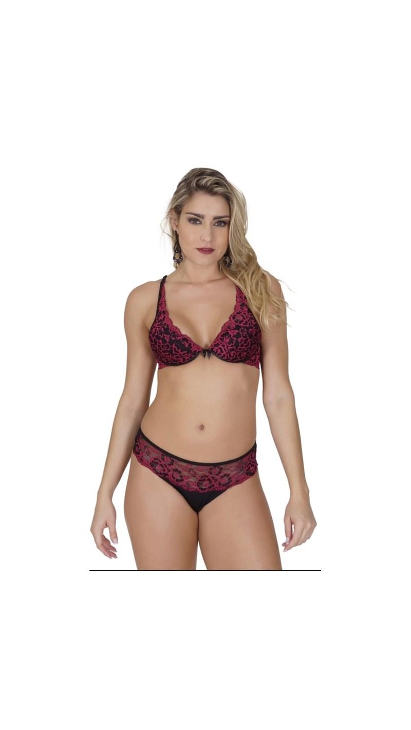 Conjunto lingerie em microfibra lisa com renda bordada K229.B VERMELHO COM PRETO