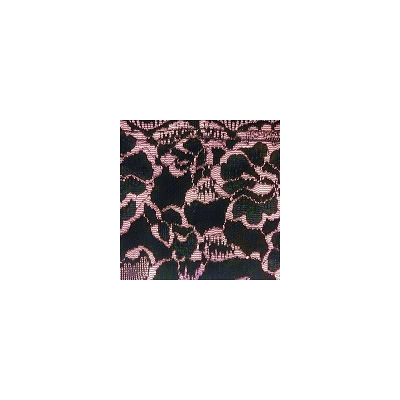 Conjunto lingerie em microfibra lisa com renda bordada K229.B ROSA CLARO COM PRETO