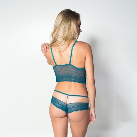 Conjunto lingerie em microfibra lisa com renda detalhes em tule K183.D