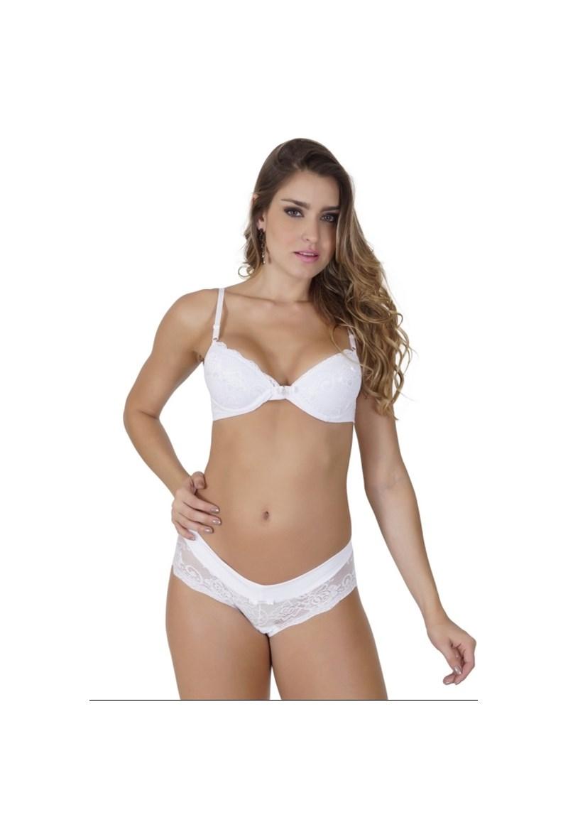 Conjunto lingerie em microfibra lisa com renda e bijuteria K47.D BRANCO