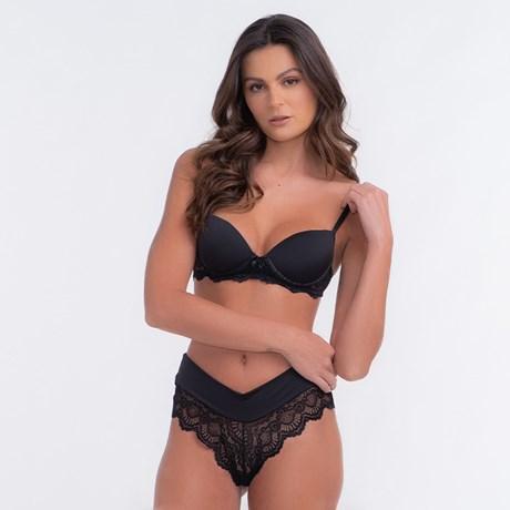 Conjunto lingerie cropped strappy bra em renda lisa com lacinho K59 ... 11a5441c33
