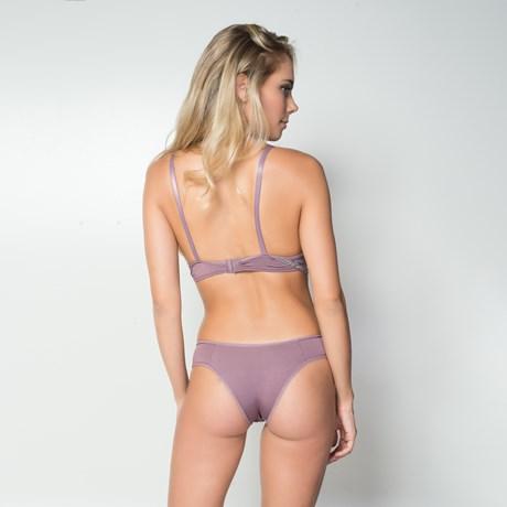 Conjunto lingerie em microfibra lisa com renda e lacinhos K113.A