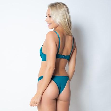 Conjunto lingerie em microfibra lisa drapeada com fita em cetim K98.A