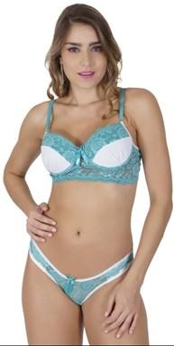 Conjunto lingerie em microfibra lisa drapeada com renda K159.B