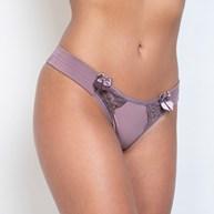 Conjunto lingerie em microfibra lisa e renda com pala lateral e lacinho K56