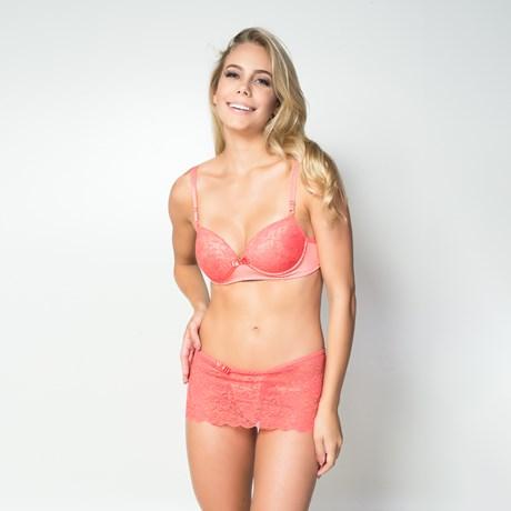 Conjunto lingerie em microfibra lisa e renda com sainha e fita em cetim K26.A