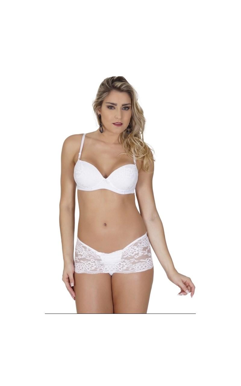 Conjunto lingerie em microfibra lisa e renda com sainha e fita em cetim K26.A BRANCO