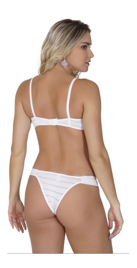 Conjunto lingerie em microfibra texturizada com lacinho em cetim K56.B