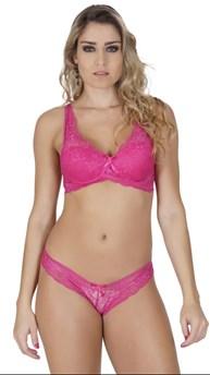 Conjunto lingerie em renda com alças largas e lacinho K143.C