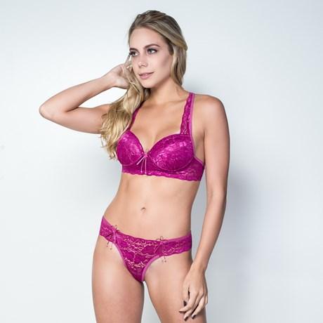 Conjunto lingerie em renda com as alças cruzadas K46.C