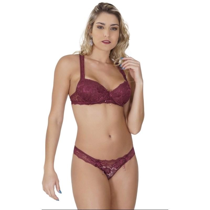 Conjunto lingerie em renda com as alças cruzadas K46.C VINHO
