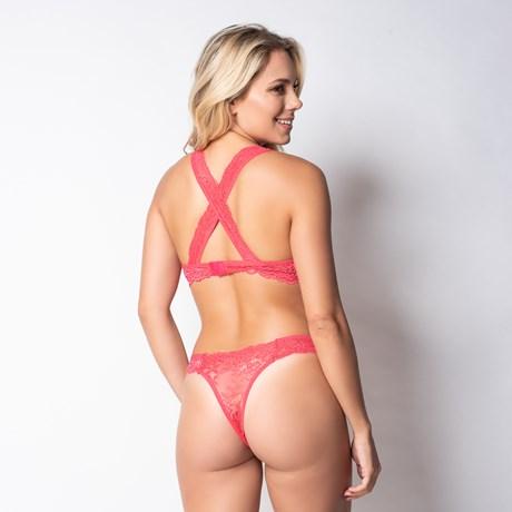 Conjunto lingerie em renda com as alças cruzadas K46.C ROSA