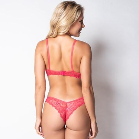 Conjunto lingerie em renda com detalhes em fita em cetim K10.C ROSA