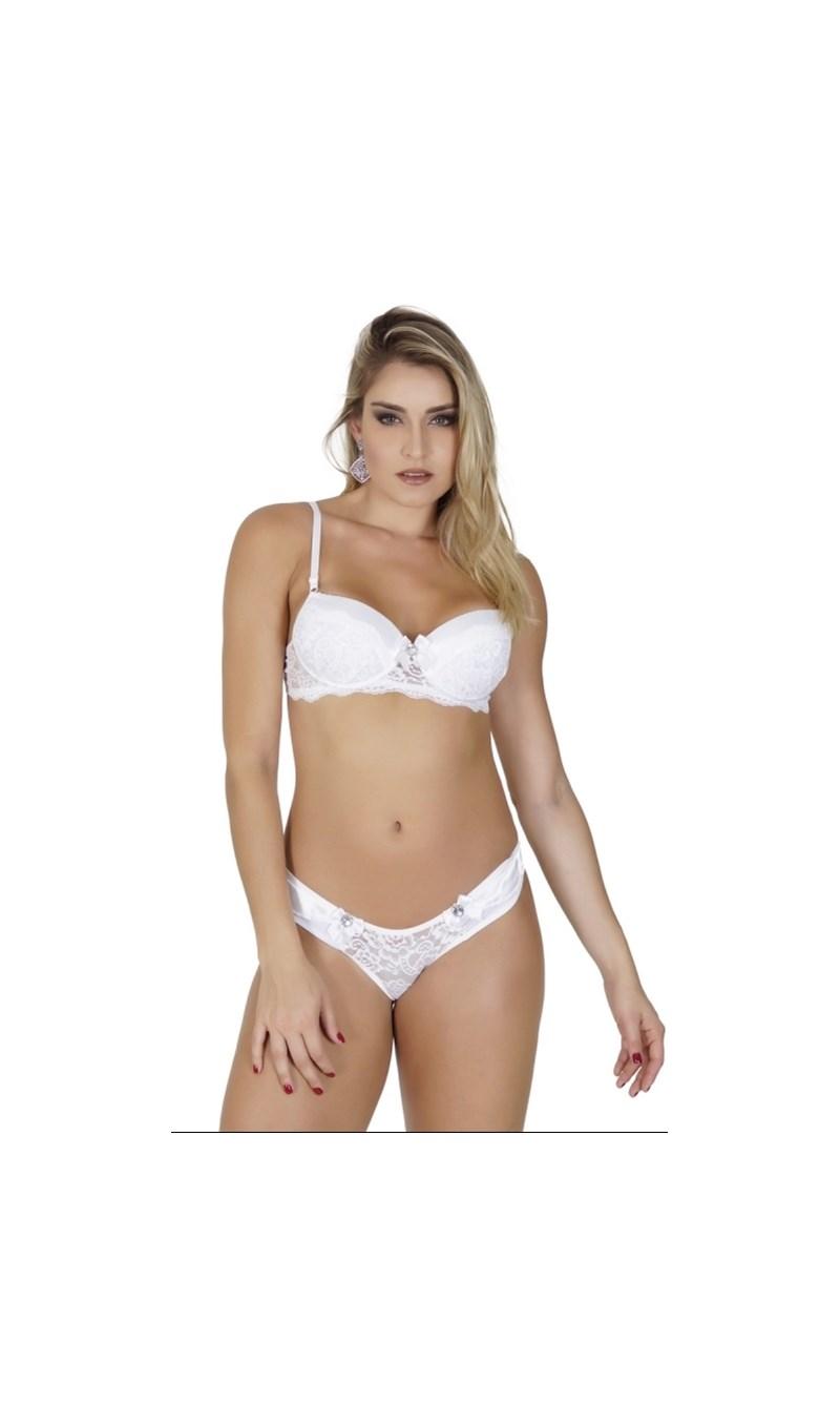 Conjunto lingerie em renda e microfibra com fita em cetim e bijuteria K105.B BRANCO