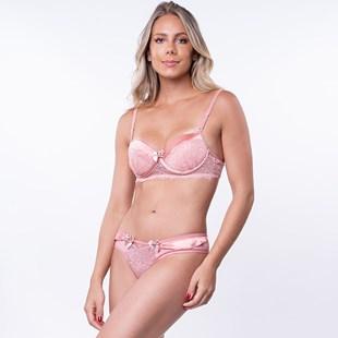 Conjunto lingerie em renda e microfibra com fita em cetim e bijuteria K105.B