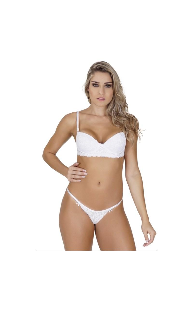 Conjunto lingerie em renda e microfibra com tirinha lateral regulável K238.B BRANCO