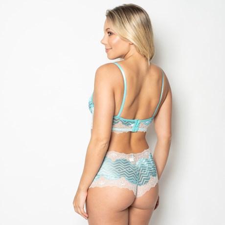 Conjunto lingerie em renda metalizada com lacinho em cetim K25.E
