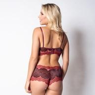 Conjunto lingerie em renda metalizada com lacinho em cetim K25.E VINHO COM PRETO